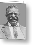 America United States Greeting Cards - President Teddy Roosevelt Greeting Card by War Is Hell Store