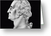 Us Patriot Greeting Cards - President Washington Bust  Greeting Card by War Is Hell Store