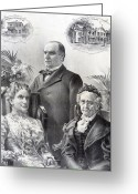 Presidential Portrait Greeting Cards - President William McKinley and family Greeting Card by International  Images