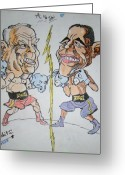 Barrack Obama Greeting Cards - Presidential fight of Obama And Maccain Greeting Card by Archit Singh
