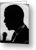 Barack Drawings Greeting Cards - Presidential Silhouette Greeting Card by Jeff Stroman