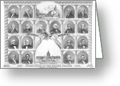 Independence Hall Greeting Cards - Presidents Of The United States 1776-1876 Greeting Card by War Is Hell Store