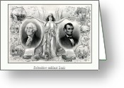 United States Presidents Greeting Cards - Presidents Washington and Lincoln Greeting Card by War Is Hell Store