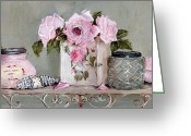 Chic Painting Greeting Cards - Pretty Bathroom Shelf Greeting Card by Gail McCormack