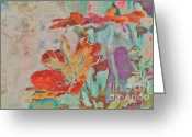 Texture Floral Mixed Media Greeting Cards - Pretty Bouquet - a09z7bt2 Greeting Card by Variance Collections