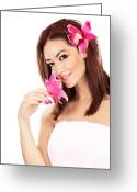 Holding Flower Greeting Cards - Pretty girl with pink flowers   Greeting Card by Anna Omelchenko