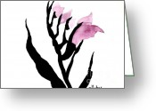 Poster From Greeting Cards - Pretty in pink Gladiolus Greeting Card by Marsha Heiken