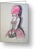 Fashion Illustration Pastels Greeting Cards - Pretty in Pink Hair Greeting Card by Sue Halstenberg