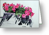 Vase Of Flowers Greeting Cards - Pretty in Pink Greeting Card by Maria Barry
