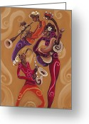 Sax Greeting Cards - Pretty Noise Greeting Card by Sharika Mahdi