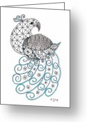 Paula Dickerhoff Greeting Cards - Pretty Peacock Greeting Card by Paula Dickerhoff