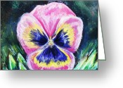Flower. Petals Pastels Greeting Cards - Pretty Pink Pansy Person Greeting Card by Shana Rowe