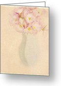 Vase Of Flowers Greeting Cards - Pretty Primroses Greeting Card by Linde Townsend