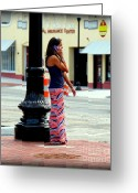 City Streets Greeting Cards - Pretty Woman Greeting Card by Karen Wiles