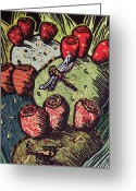 Linoleum Greeting Cards - Prickly Pear Greeting Card by Candy Mayer