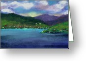 Waves Pastels Greeting Cards - Priest Lake Bay Greeting Card by David Patterson