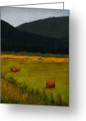 Pastels Pastels Greeting Cards - Priest Lake Hay Bales Greeting Card by David Patterson