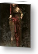 Mythological Greeting Cards - Priestess of Delphi Greeting Card by John Collier