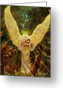 Angel Posters Greeting Cards - Priestess Of The Woods Greeting Card by Steve Roberts
