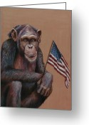 Patriotism Painting Greeting Cards - Primitive Patriotism Greeting Card by Jim Figora