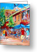 Resto Cafes Greeting Cards - Prince Arthur Street Summer Greeting Card by Carole Spandau