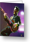 Performer Greeting Cards - Prince Greeting Card by Byron Fli Walker