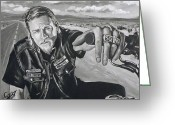 Jax Teller Greeting Cards - Prince Charming - Jax Greeting Card by Tom Carlton