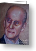 Www.artworkxofmann.com Mixed Media Greeting Cards - Prince Philip Greeting Card by James Flynn