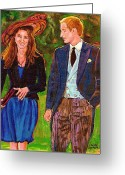 Queen Mother Elizabeth Greeting Cards - Prince William And Kate The Young Royals Greeting Card by Carole Spandau