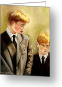 Queen Mother Elizabeth Greeting Cards - Prince William And Prince Harry Greeting Card by Carole Spandau