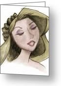 Updo Mixed Media Greeting Cards - Princess - Drawing with Digital Color Greeting Card by Andrew Fling