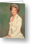 British Royalty Painting Greeting Cards - Princess Diana Greeting Card by Douglas Fincham