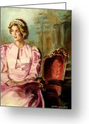 British Royalty Painting Greeting Cards - Princess Diana The Peoples Princess Greeting Card by Carole Spandau