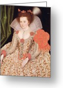 Sat Greeting Cards - Princess Elizabeth the daughter of King James I Greeting Card by Marcus Gheeraerts