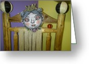 Earthenware Ceramics Greeting Cards - Princess Mask Greeting Card by Kathleen Raven