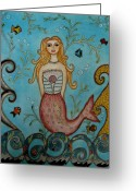 Seashells Greeting Cards - Princess Mermaid Greeting Card by Rain Ririn