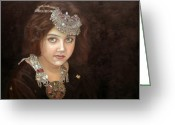 Oil Painting Greeting Cards - Princess of the East Greeting Card by Enzie Shahmiri
