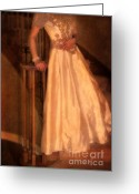 Bannister Tapestries Textiles Greeting Cards - Princess on Stairway Greeting Card by Jill Battaglia