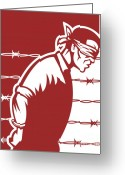 Criminal Greeting Cards - Prisoner blindfolded Greeting Card by Aloysius Patrimonio