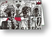 Street Art Drawings Greeting Cards - Private Party Greeting Card by Robert Wolverton Jr