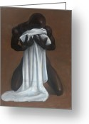 Man Pastels Greeting Cards - Private Passion Greeting Card by L Cooper