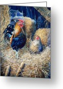 Poster From Greeting Cards - Prized Rooster Greeting Card by Hanne Lore Koehler