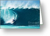 Beach Art Greeting Cards - Pro Surfer Kelly Slater Surfing in the Pipeline Masters Contest Greeting Card by Paul Topp