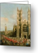 Architecture Painting Greeting Cards - Procession of the Knights of the Bath Greeting Card by Canaletto
