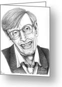 Pencil Drawing Greeting Cards - Professor Stephen W. Hawking Greeting Card by Murphy Elliott