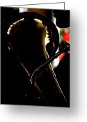 Tuba Greeting Cards - Profile in Tuba  Greeting Card by Steven  Digman