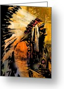 Headdress Greeting Cards - Profile of Pride Greeting Card by Paul Sachtleben