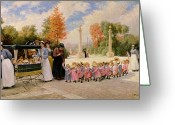 Pram Greeting Cards - Promenade des Enfants  Greeting Card by Timoleon Marie Lobrichon