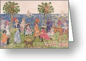 Beach Scenes Greeting Cards - Promenade Greeting Card by Maurice Brazil Prendergast