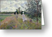 Green Field Painting Greeting Cards - Promenade near Argenteuil Greeting Card by Claude Monet